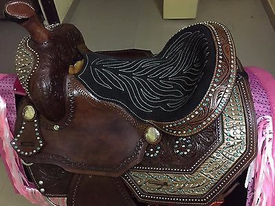 "Western Brown Barrel racer Hand Carved 16"" Saddle With Inlay On Skirt and Concho"