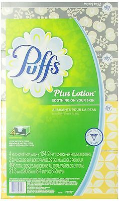 Puffs Plus Lotion Facial Tissues 4 Family Boxes 124 Tissues Per Box 496 Count