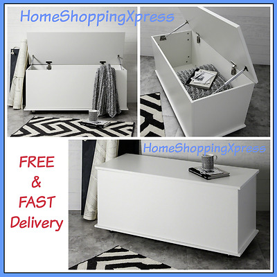 XL Childrens Toy Box Room Storage White Wood Chest Bench Bedroom Furniture Unit