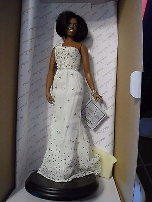"Michelle Obama First Lady Inaugural Ball Doll 16"" In Box The Danbury Mint Tag"