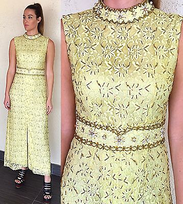 Vintage 60s Brocade Dress Party Beaded Jeweled Lace Cocktail Evening