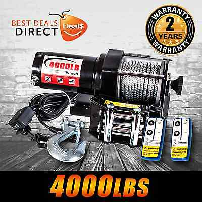 NEW 12V Wireless 4000LBS/1814KGS Electric Cable Winch ATV 4WD Boat 2 Year Wrnty
