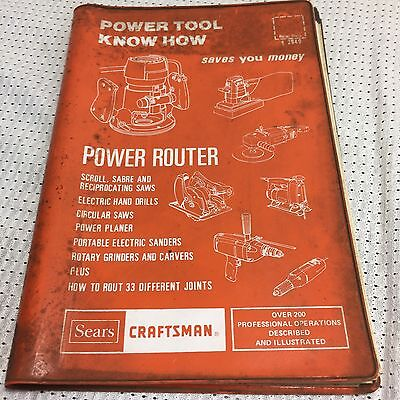 Sears Craftsman Power Tool Know How Books -Power Router book #9-2949 YR 1977