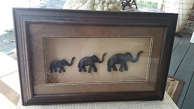 Vintage Wood Carved Elephant Shadow Box Picture Pachyderm Parade Wild Animals