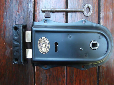 Refurbished Steel And Brass Cottage Lock  Key And Reproduction Cast Iron Keep