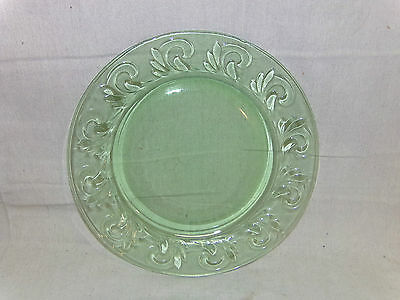 12 inch USA made Green Glass Wave Swirl Pattern Chop Cake Serving Plate Platter