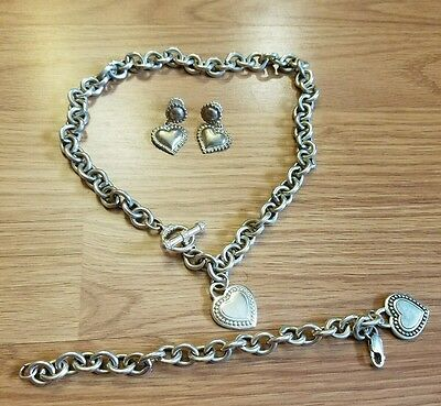 Judith Ripka Sterling SIlver Hearts Bracelet Toggle Necklace Set with Earrings