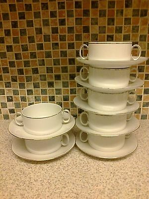 Thomas Germany Silver Rim 7 X Soup Coups/bowls & Plates 2 Are Old Hallmark