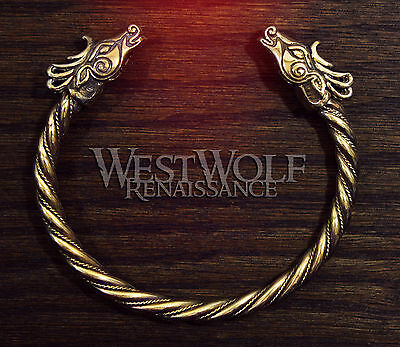 Gold Celtic Deer Head Bracelet -- Norse/Viking/Medieval/Bronze/Stag/Jewelry/Torc