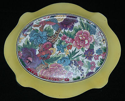 Crown Ducal Turtle Shaped Trivet Or Stand Purple Chintz Pattern With Yellow Band