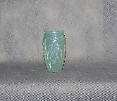 Green Phoenix Consolidated Glass Co Martele' Dragonfly Vase Introduced 1926
