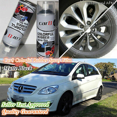 6 x Cans Matt Black Rubber Paint Wheel Rim Plasti dip Spray Removable Rubber