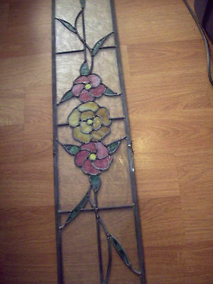 """Rare Vntg Large Size Beautiful Leaded Beveled Stained Glass Window 64 1/2 x 7"""""""