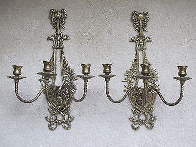Pair of Antique Bronze Brass 3-Arm Candle Wall Sconces Regency Style Ornate Bows