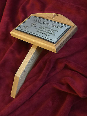 Engraved Oak Wood Memorial Plaque - Grave Marker Personalised made to order