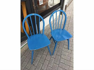 Vintage Pair Of Ercol 60s Dining Chairs Painted Blue Elm And Beech VGC