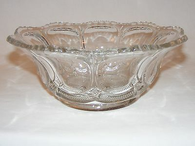 "ORNATE ANTIQUE VICTORIAN Eapg 10"" BOWL  Early American Pressed Glass WOODROW"