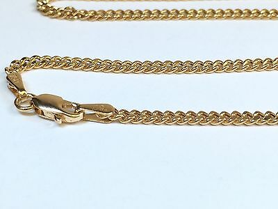 18k Solid Yellow Gold Italian Flat Curb/Link Chain Necklace, 20 Inches, 4Grams
