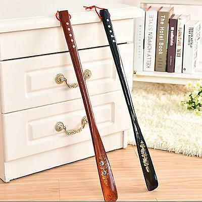 Long Handle Wooden Shoe Horn Lifter Flexible Shoehorn Hanging Convenient LSRG