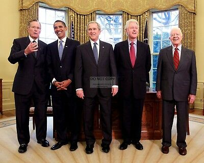 George W. Bush Meets With Barack Obama And Former Presidents 8X10 Photo (Zy-634)