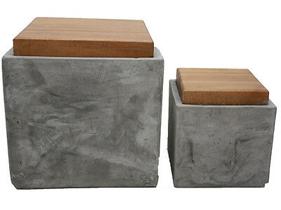 Set Of 2 Square Kitchen Box Storage Container Display Concrete W/ Timber Lid
