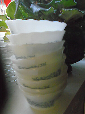 7 CURRIER AND IVES GLASS CUSTARD DISHES  Set of 7-Marcrest
