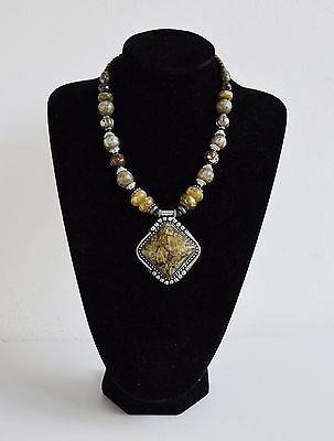Ethnic Necklace Tribal Pendant Traditional Carved Handmade Jewellery Beaded Silv