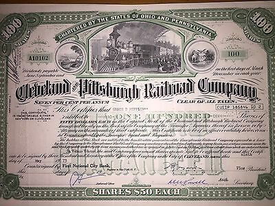 Cleveland & Pittsburgh Railroad Company original issued stock certificate