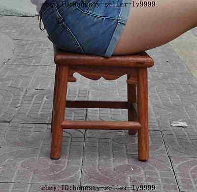 "11""Antique Furniture china huanghuali wood hand-carved Chair Wooden bench statue"