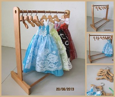 Handmade Wood Wooden Barbie Doll Dress Clothes Display Rack & 8 Hangers Set