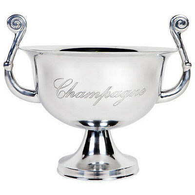 Polished chrome aluminium Champagne/Wine bucket. With curved handles