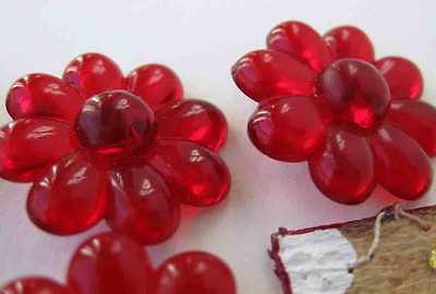 Vintage Flower Buttons Ruby Red Plastic Shank West Germany 23mm
