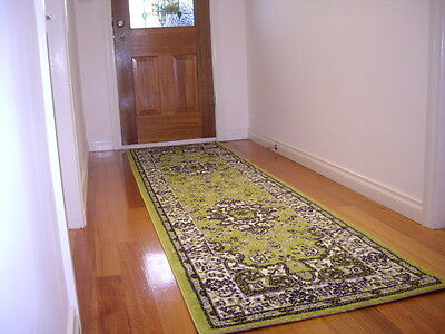 Hall Runner Rug Traditional Designer Green 300cm Long FREE DELIVERY