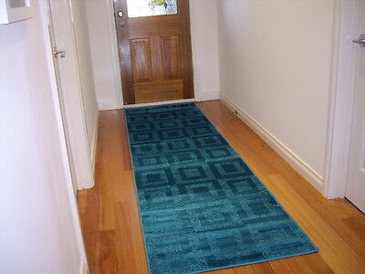 Hall Runner Rug Patterned Modern Designer Turquoise FREE DELIVERY 300cm Long