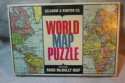 Selchow & Righter World Map Puzzle Rand Mcnally 517 1960's Vintage Puzzle Sealed