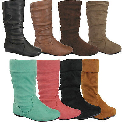 NEW KID Boots Flat Heel Mid Calf Girl Shoes~Slip On Toddler Slouch Youth Boot