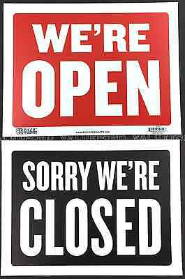 "We are open Sorry we are closed sign 9"" x 12"" Red Black Flexible plastic We're"