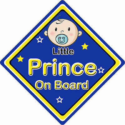 Other Baby Safety Non Personalised Child/Baby On Board Car Sign ~ Little Princes On Board ~ D.Blue Safety