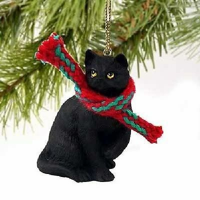 Black Cat Ornament with Scarf Cute Holiday Christmas Gift 2 inch
