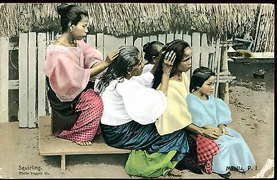 PHILIPPINES 1900 ~s MANILA - SQUIRLING - COLOUR PC VG USED