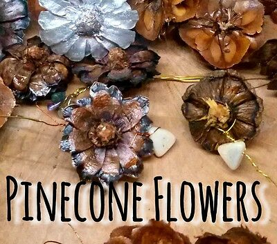 ( Lot Of 5) Pinecone Flowers Handcrafted Decorative Accent Cones Wire Wrapped
