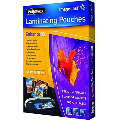 Pack Of 100 Fellowes Imagelast A3 80 Micron Laminating Pouch New UK SELLER