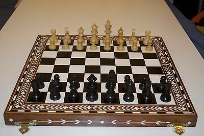 Chess Board Black & Brown (Wooden/Acrylic Inlay Chess Board)
