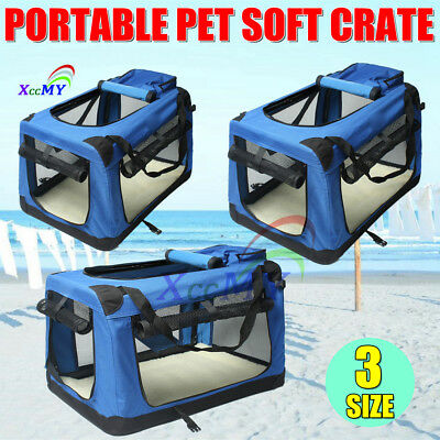 Blue Foldable Pet Dog Cat Soft Crate Travel Carrier Cage Kennel L/XL/XXL 3 Size