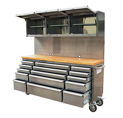 """72"""" Stainless Steel Garage workbench, tool trolley, top cabinet and Pegboard"""