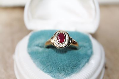 VICTORIAN Vintage 10k GOLD on STERLING Silver 1ct RUBY halo cocktail ring 7 1/4