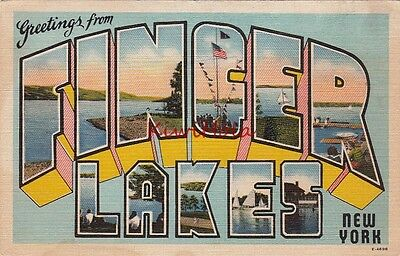 Postcard Large Letters Greetings From Finger Lakes NY New York