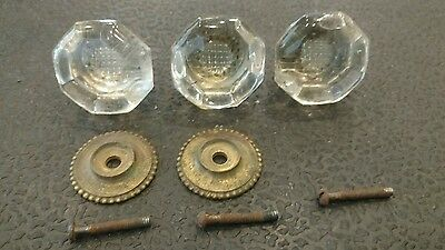 3 Vintage Glass & Brass Drawer Pulls Knobs Cabinet Dresser Hardware Unique