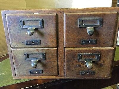 Vintage Wooden Filing Cabinet Four Drawer Kitchen Recipe Card