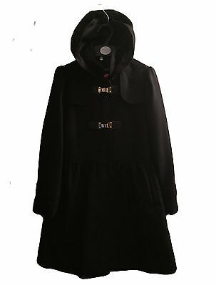 Lovely Girls Kids Black Winter Hooded Jacket Coat Age 9 10 11 12 13 14 15 16 Yr